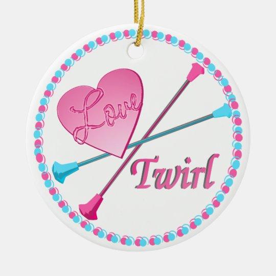 Love 2 Twirl Photo Ceramic Ornament
