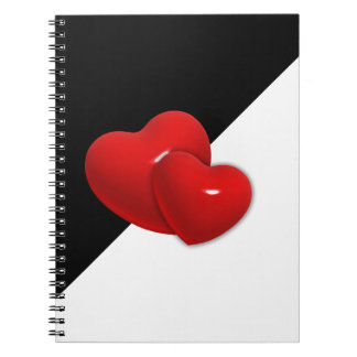 love-489522 Black white triangle red hearts backgr Notebook