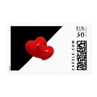 love-489522 Black white triangle red hearts backgr Postage