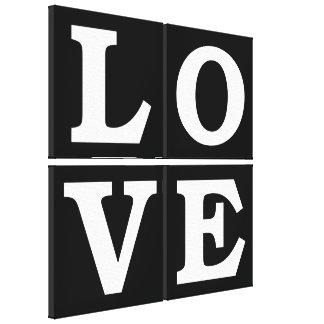 LOVE 4 Panel Pop Art ~ Black and White Typography Canvas Print