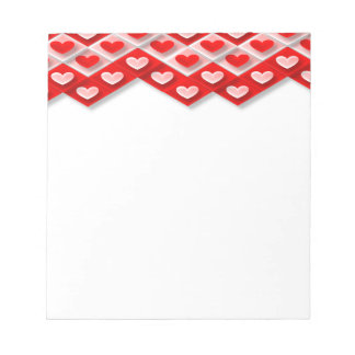 love-581582  RED PINK WHITE HEART DECORATIVE PATTE Memo Notepads