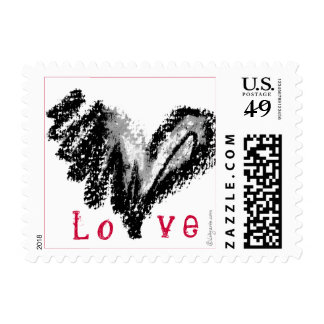 Love:  A Black Heart Square Small ... - Customized Stamps