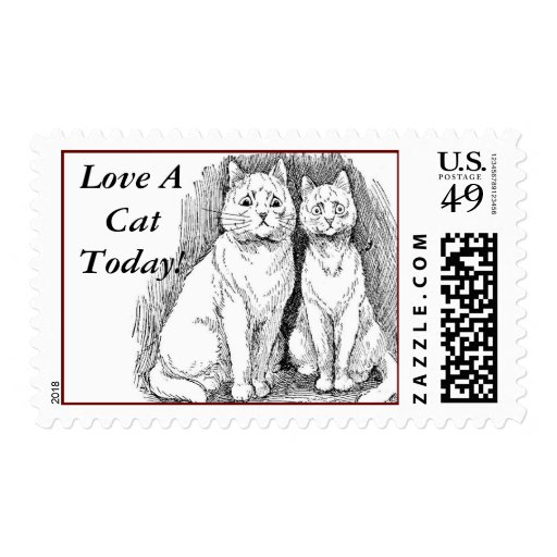 LOVE A CAT TODAY  POSTAGE STAMP