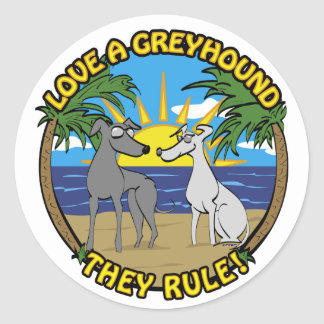 LOVE A GREYHOUND THEY RULE! CLASSIC ROUND STICKER