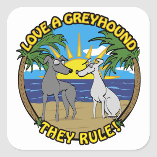 LOVE A GREYHOUND THEY RULE! STICKER