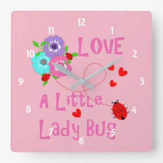 Love A Little Lady Bug Cute Kids Square Wall Clock