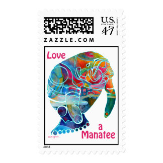 Love a Manatee Postage Stamps