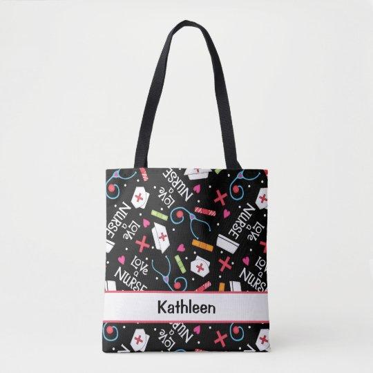 Love A Nurse Art Black Name Personalized Tote Bag