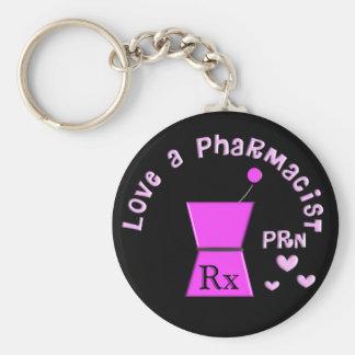 Love a Pharmacist PRN Pestle and Mortar Design Basic Round Button Keychain
