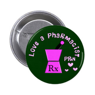 Love a Pharmacist PRN Pestle and Mortar Design 2 Inch Round Button