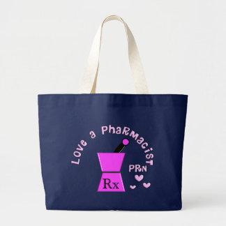 Love a Pharmacist PRN Pestle and Mortar Design Large Tote Bag