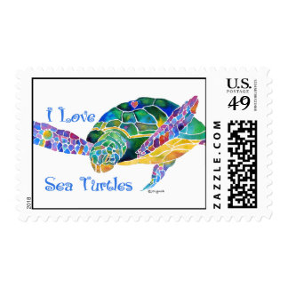 Love a Sea Turtle Postage in Purples