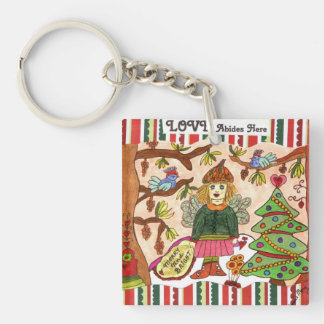 LOVE Abides Here Fairy Square Acrylic Key Chains