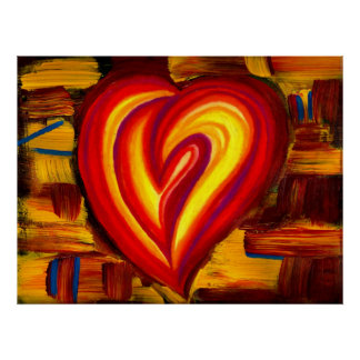 Love Abstract Heart Oil Pastel Poster