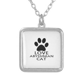 LOVE ABYSSINIAN CAT DESIGNS SILVER PLATED NECKLACE