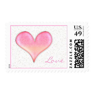 Love | Adorable Girly Pink Heart Postage