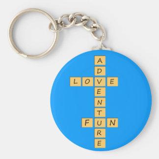 Love adventure fun basic round button keychain
