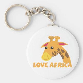 love africa with cute lieel giraffe basic round button keychain