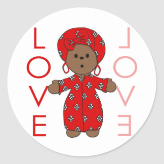 Love - African Doll Round Stickers