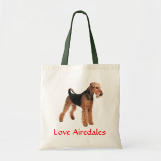 Love Airedale Terrier Puppy Dog Canvas Totebag Budget Tote Bag