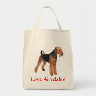 Love Airedale Terrier Puppy Dog Grocery Totebag Grocery Tote Bag