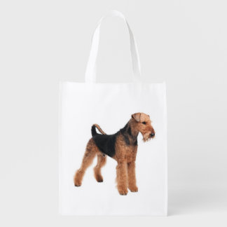 Love Airedale Terrrier Puppy Dog Grocery Tote Bag Market Totes