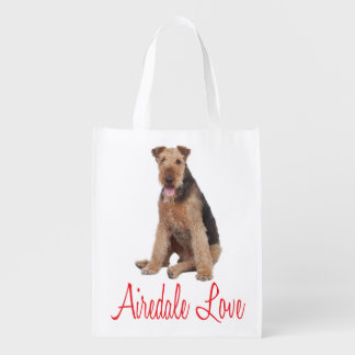 Love Airedale Terrrier Puppy Dog Grocery Tote Bag Reusable Grocery Bag