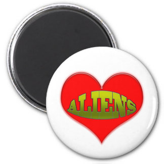 Love Aliens Heart 2 Inch Round Magnet