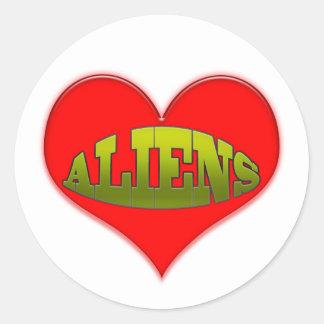 Love Aliens Heart Classic Round Sticker
