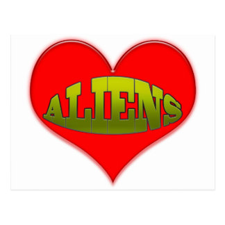 Love Aliens Heart Postcard