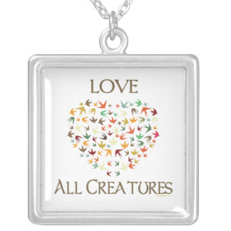 Love All Creatures Silver Plated Necklace