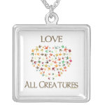 Love All Creatures Square Pendant Necklace