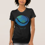 LOVE ALL ladie's tennis world globe design T Shirt