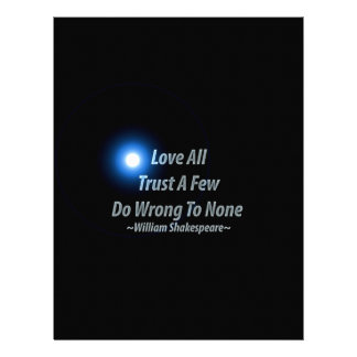 Love All, Trust A Few, Do Wrong To None. William S Customized Letterhead