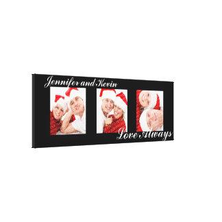 Love Always custom triptych photo art black canvas