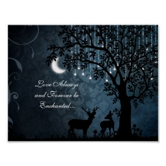Love Always Enchanted Moon, Lights, Tree and Deer Poster