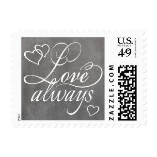 Love Always Hearts Typography Chalkboard Stamp