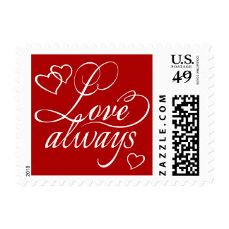 Love Always Hearts Typography | CHOOSE YOUR COLOR Postage