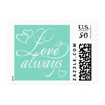 Beach Themed Love Always Hearts Typography | CHOOSE YOUR COLOR Postage