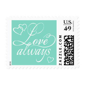 Love Always Hearts Typography | CHOOSE YOUR COLOR Postage Stamp
