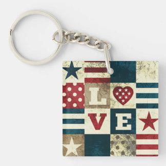 Love America Patriotic 2-sided Acrylic Key Chain