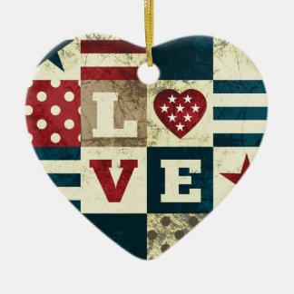 Love America Patriotic Ceramic Ornament