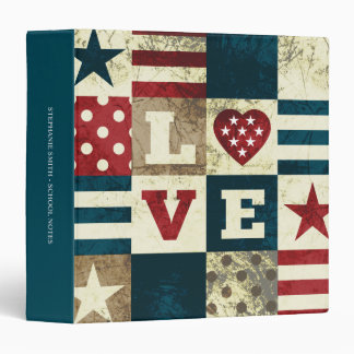 """Love America Patriotic Personalizable 1.5"""" Binder"""