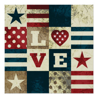 Love America Patriotic Poster