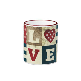 Love America Patriotic Ringer Mug