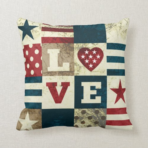 Love America Patriotic Throw Pillow