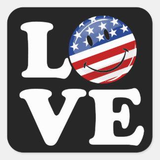 Love America Smiling Flag Square Sticker