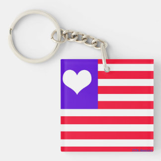 Love American Square (single-sided) Keychain
