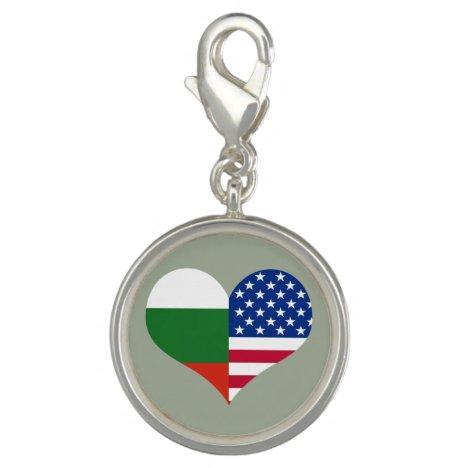 Love American/USA and Bulgarian Flag Charm