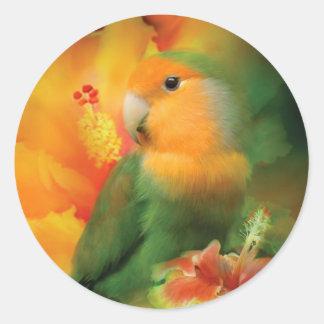Love Among The Hibiscus Art Sticker